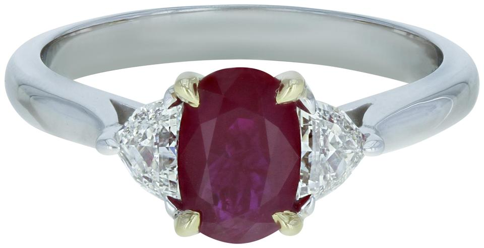 411132bb2d5b4 Gavriel's Jewelry Red Burmese Ruby Diamond Engagement Anniversary 18k White  Gold Ring 48% off retail