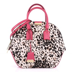 Burberry Calfhair Satchel in off-white and black print