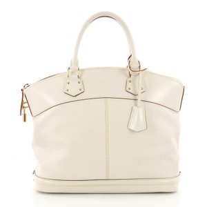 Louis Vuitton Lockit Leather Tote in white