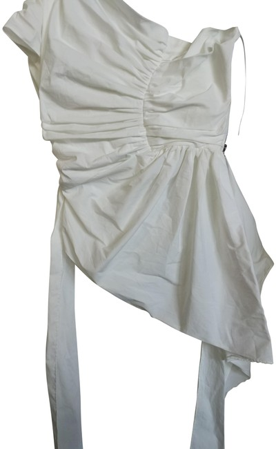 Item - White Made In Australia Assymetryc Draped Blouse Size 6 (S)