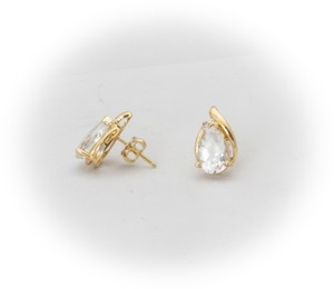 Gold White Sapphire and Diamond Pear Cut Stud In 14k Yellow Earrings