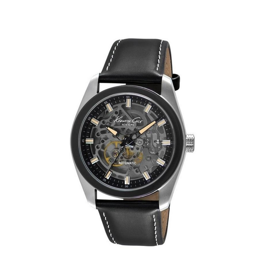 4962430441 Kenneth Cole KC8040 Men s Black Leather Band With Black Analog Dial Watch  ...