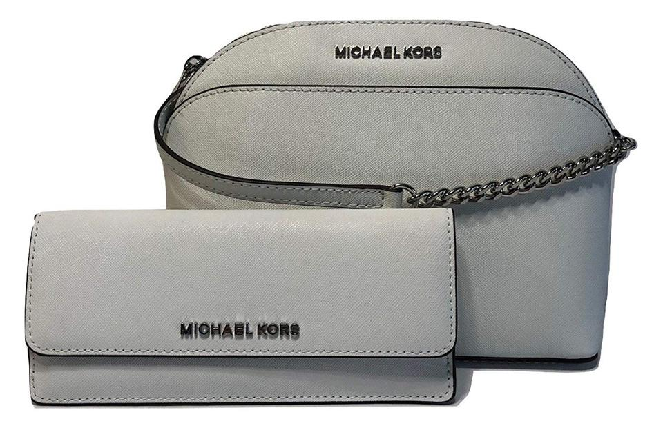 368bd53485e3 Michael Kors Emmy Md and Matching Jet Set Flat Travel Wallet White Saffiano  Leather Cross Body Bag