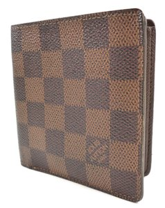 Louis Vuitton Brown Wallet Damier Canvas Leather Slim Bifold Men's Jewelry/Accessory