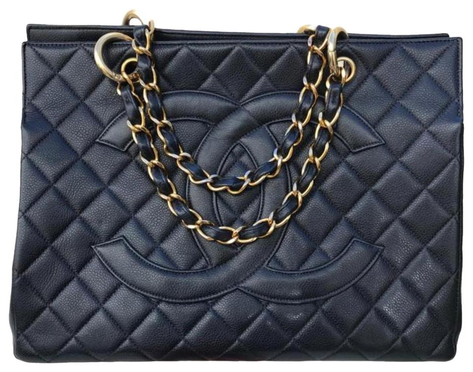 e5b71d6b860d9e Chanel Timeless Shopping W Vintage Quilted Grand Gst W/ Jumbo Double Cc  Logo Black Caviar Leather Tote