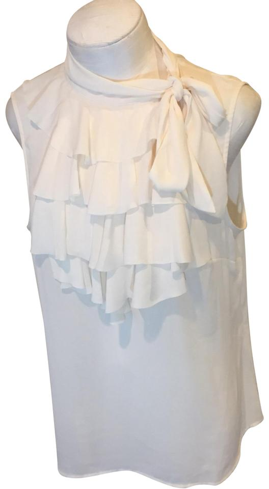 64cd3a941ae65f Banana Republic Cream Tie Neck Ruffle Shell Blouse Size 12 (L) - Tradesy