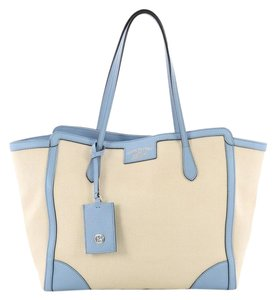 Gucci Canvas Leather Tote in light blue and beige