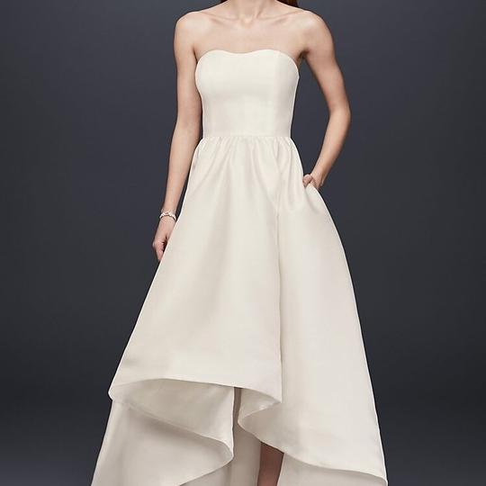 David S Bridal Plus Size Wedding Gowns: David's Bridal Ivory Mikado High Low With Added Jeweled