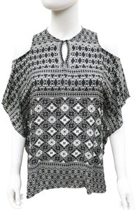 Anne Fontaine Cold Shoulder Caftan Flowy Relaxed Hook Eye Top black and white