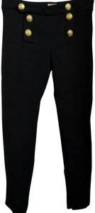Alexis Mabille Skinny Pants Black gold tone buttons
