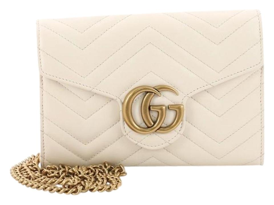 a6d28ebdb2d Gucci Marmont Chain Wallet Gg Matelasse Mini Off-white Leather ...
