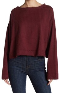 Free People Tie Buttons Open Back Longsleeve Textured Top raspberry