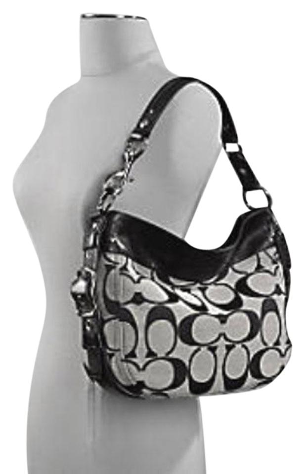 Coach Zoe Signature 12657 Black White Fabric Shoulder Bag 47 Off Retail