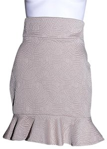 Lisa Nieves Pencil Peplum Casual Fitted Stretch Skirt beige