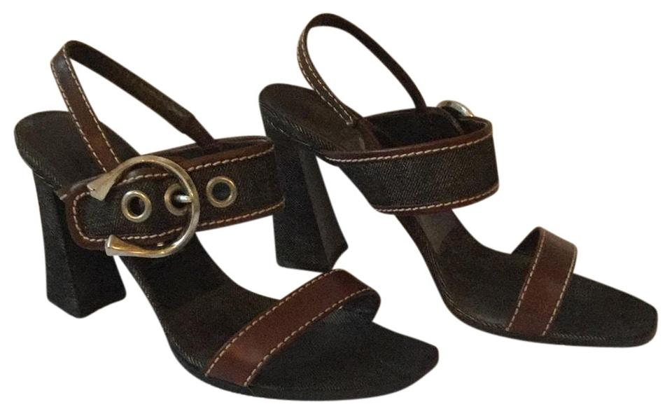 72976316fa6 Prada Dark Denim with Brown Leather Silver Buckle and Chunky Heels Sandals
