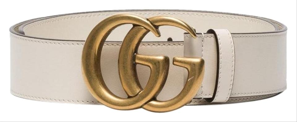 e275e03b7 Gucci Off White Leather with Double G Buckle Belt - Tradesy