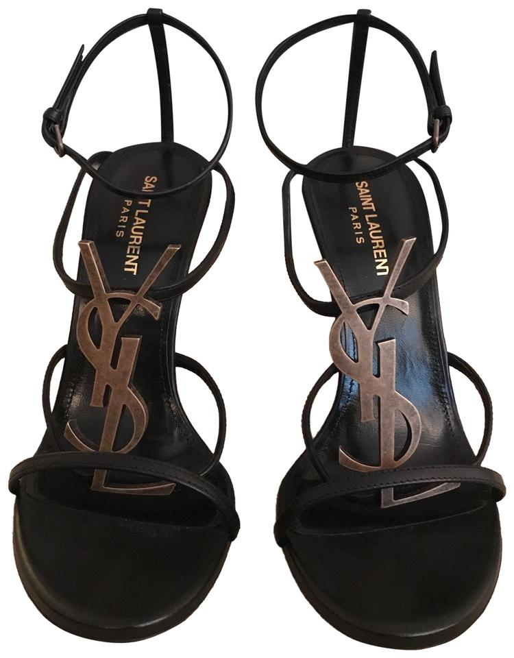 3894b3e7070 Saint Laurent Black/Gold Cassandre Logo Embellished Leather Sandal ...