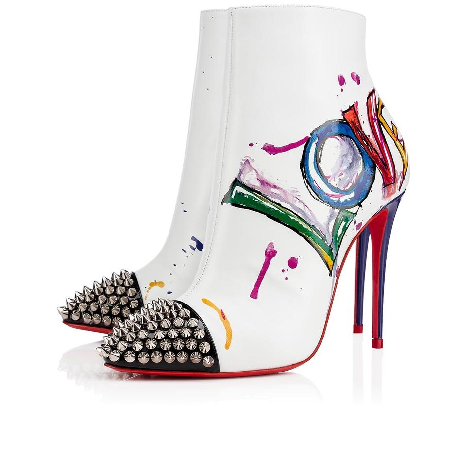 048b597f721 Christian Louboutin Stiletto Ankle Classic Love white Boots Image 0 ...