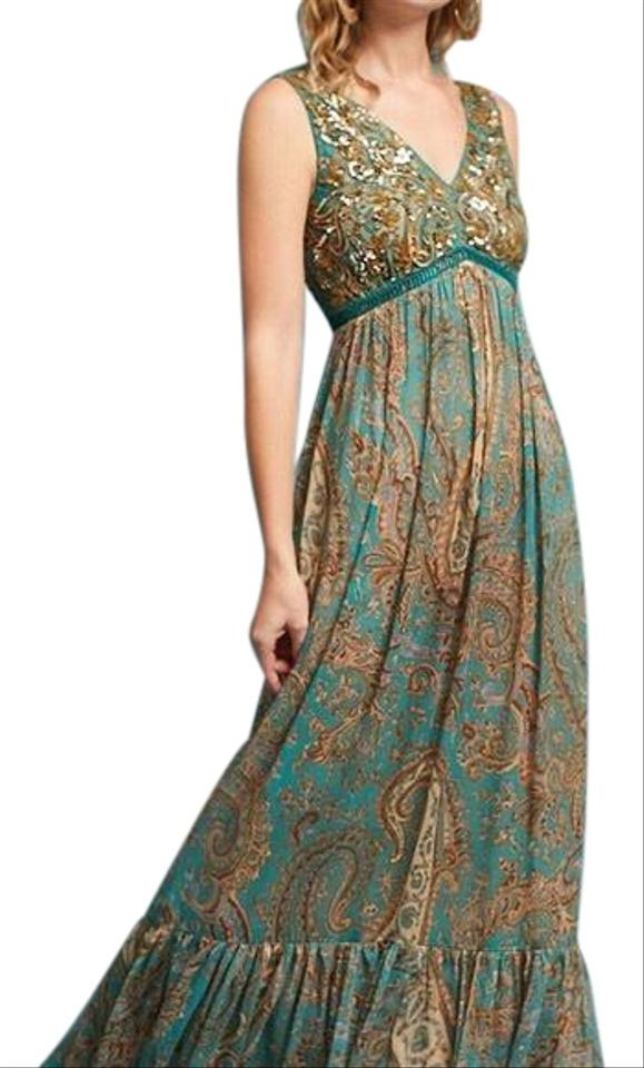2b36264efcb0 Anthropologie Turquoise Gold Ranna Gill For Beaded Paisley Maxi Night Out  Dress