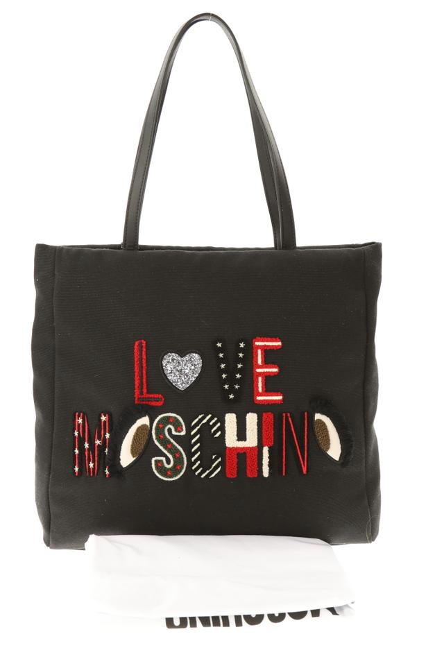 9d2bfcaff2 Love Moschino Borsa Canvas Embroidered Black Faux Leather Tote - Tradesy