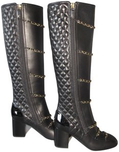 Chanel With Box Tall Knee High Chain Trim Black Boots