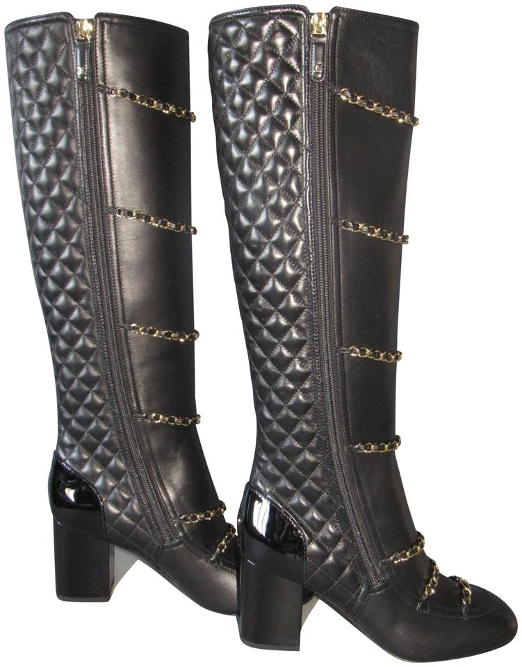 a1f3f5404a1 Chanel Black New 17b Chain Quilted Leather Knee High Boots/Booties Size EU  36 (Approx. US 6) Regular (M, B) 34% off retail