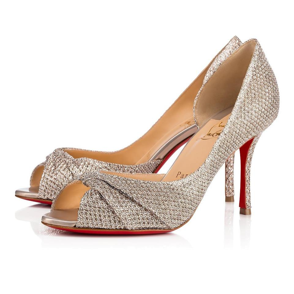31b0ce83d2c5 Christian Louboutin Silver Courvampa 85 Colombe Gold Glitter Sandal  Stiletto Wedding Heel Pumps