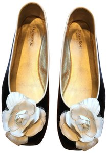 Taryn Rose Patent Leather Flower Bow Leather Slip On Ballet Black and white Flats