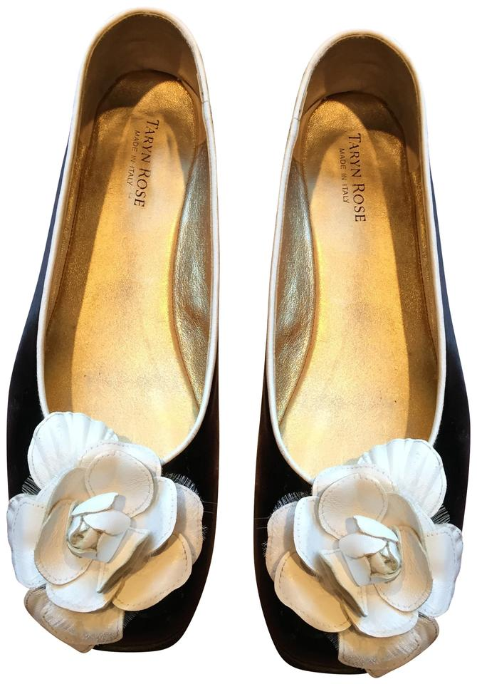 a7ee89be98e69 Taryn Rose Patent Leather Flower Bow Leather Slip On Ballet Black and white  Flats Image 0 ...