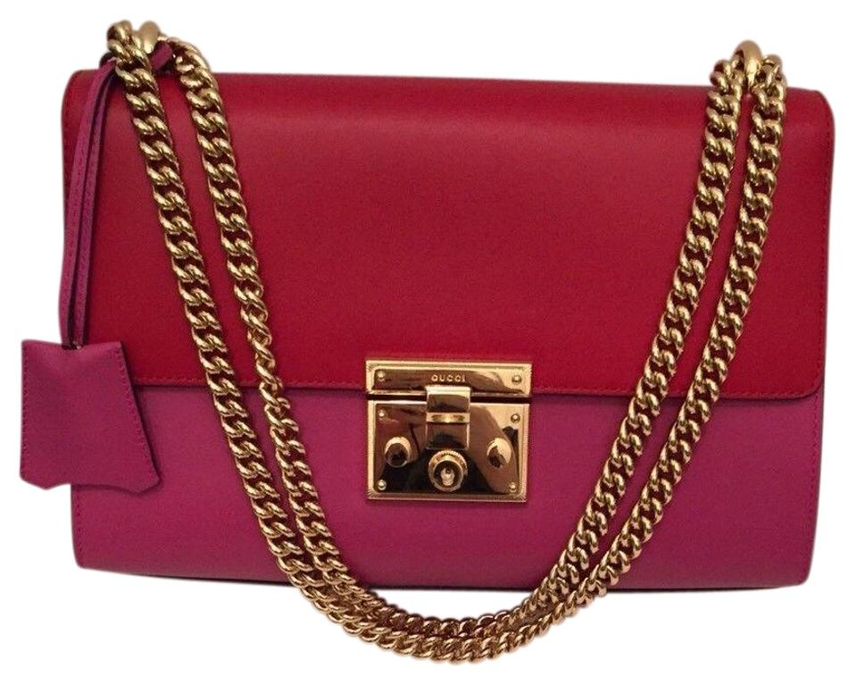 7c8f39307ad Gucci Linea Lock Red Pink Red Leather Shoulder Bag - Tradesy
