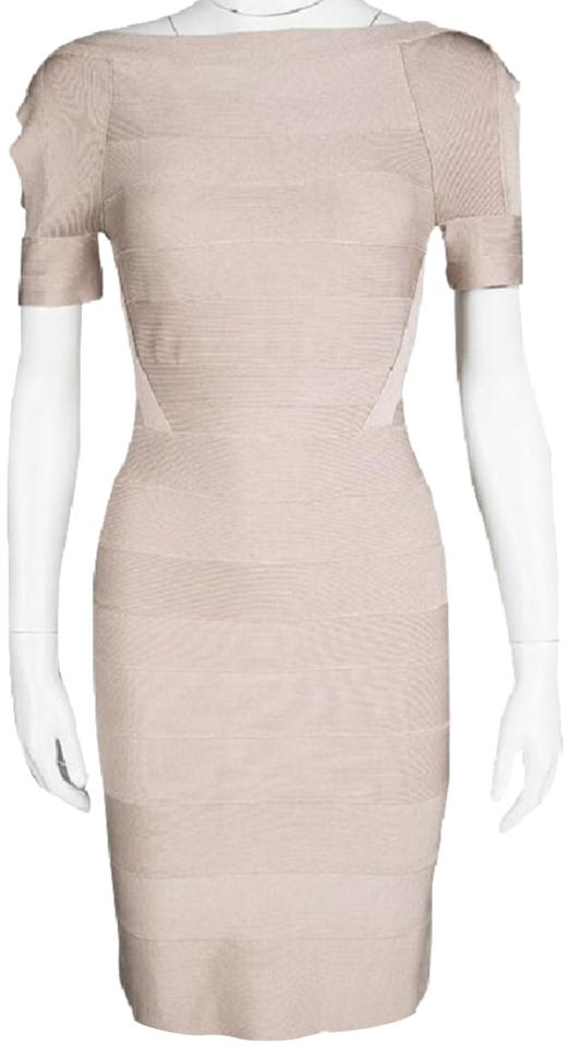 dc2e01128c9 Hervé Leger Rose Tone Nude Blush Cold Shoulder Short Cocktail Dress ...