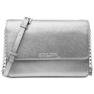Michael Kors Gusset White Silver Clutch