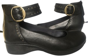 Dansko Studded Soft Nappa Leather Double Ankle Straps Good Condition Black Flats