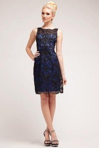 P.R.I.M.A. Glitz By Kari Chang Navy / BLK 17-1929 Soutache Art Deco Cocktail Dress