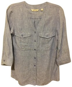 ORVIS Eileen Fisher Vince Wear To Work Top Chambray Blue