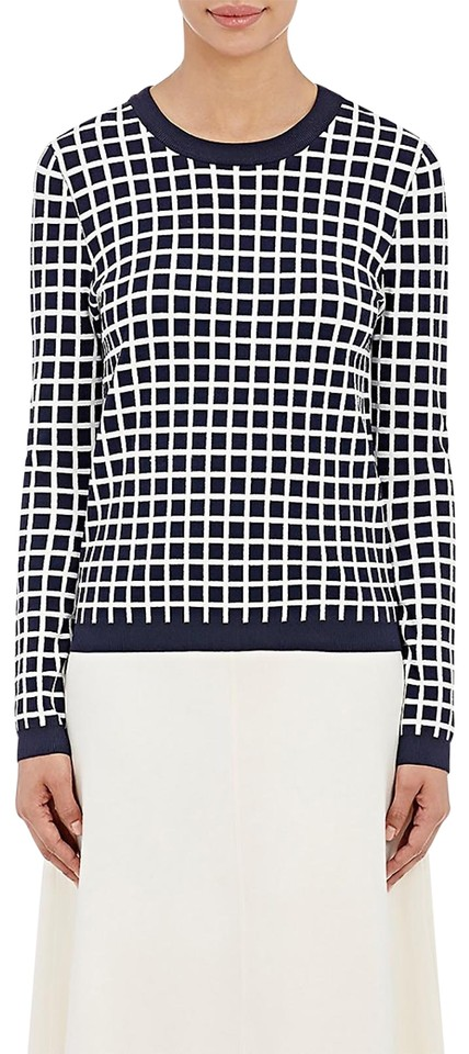 984d103ef3f6 Tory Sport by Tory Burch Tech-knit Checked Paris Check Navy Sweater ...