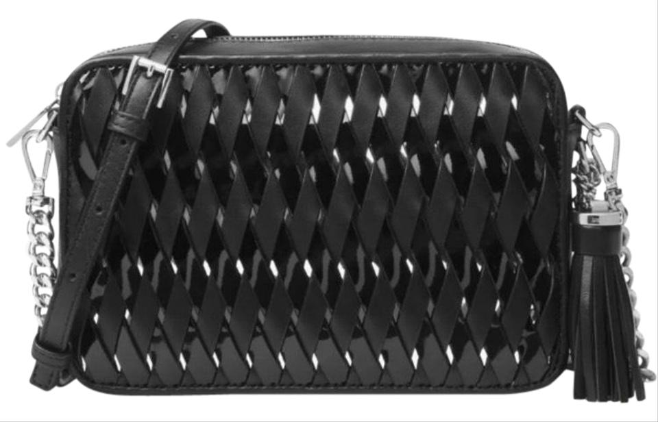 851a2cc03edf76 Ginny Woven Black/Silver Leather Cross Body Bag. MICHAEL KORS COLLECTION
