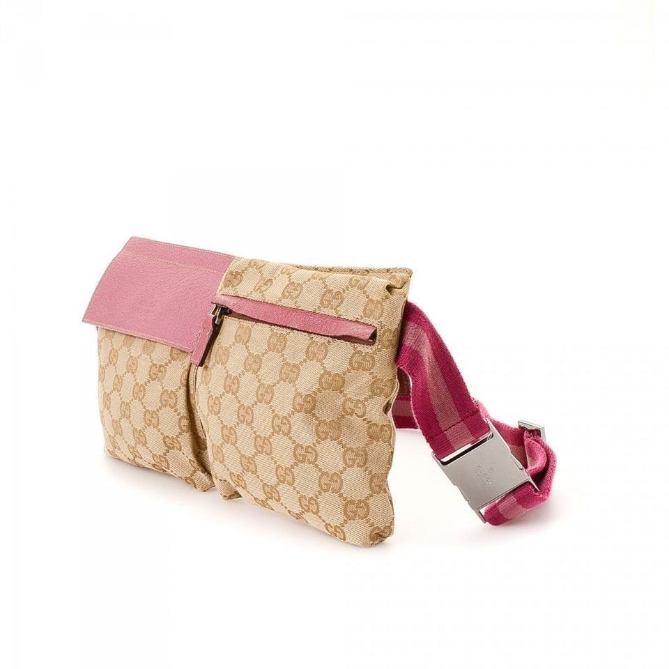 7e163e397c6b37 Gucci Monogram Gg Fanny Pack Waist Pouch 868096 Pink Canvas Cross ...