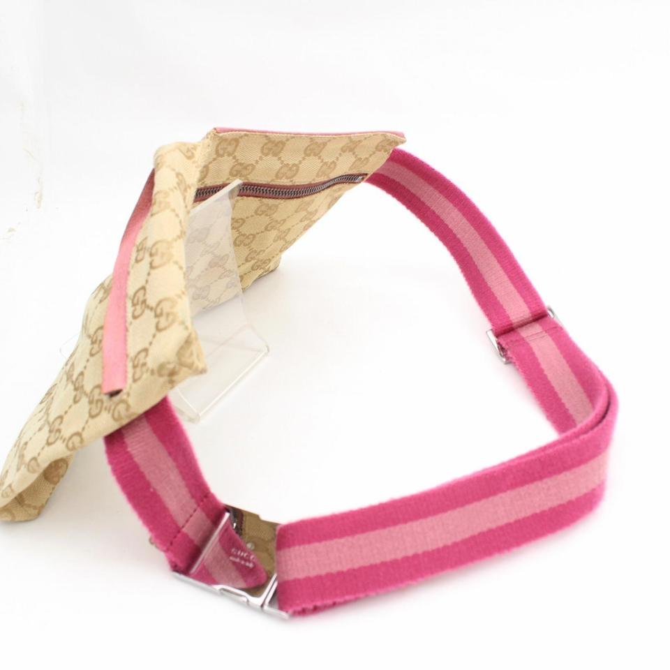 9f7ea897f7ad Gucci Monogram Gg Fanny Pack Waist Pouch 868096 Pink Canvas Cross ...