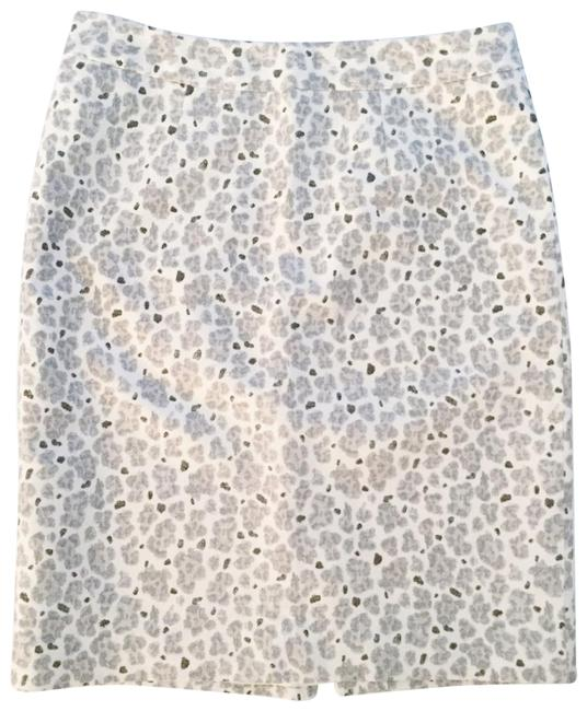 Item - White Gray Taupe Leopard Silk Blend Skirt Size 0 (XS, 25)