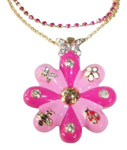 Betsey Johnson Betsey Johnson Puffy Flower Necklace Butterfly Crystals Ladybug Bee Garden Pink