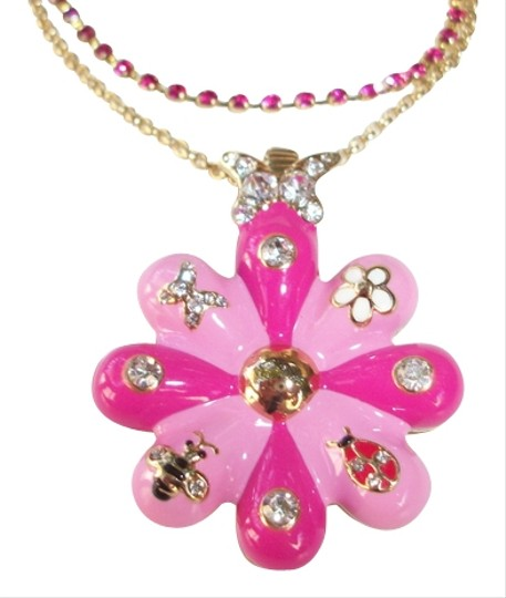 Betsey Johnson Puffy Flower Necklace Butterfly Crystals