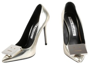 Acne Studios Pointed Toe High Silver Pumps