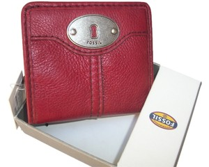 Fossil Fossil Marlow Bifold Wallet - Cranberry - SL3295 Leather Clutch Red