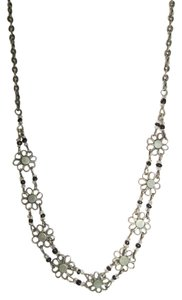 Unknown Antiqued Silver Choker, Flower Design with Black and Clear Seed Beads