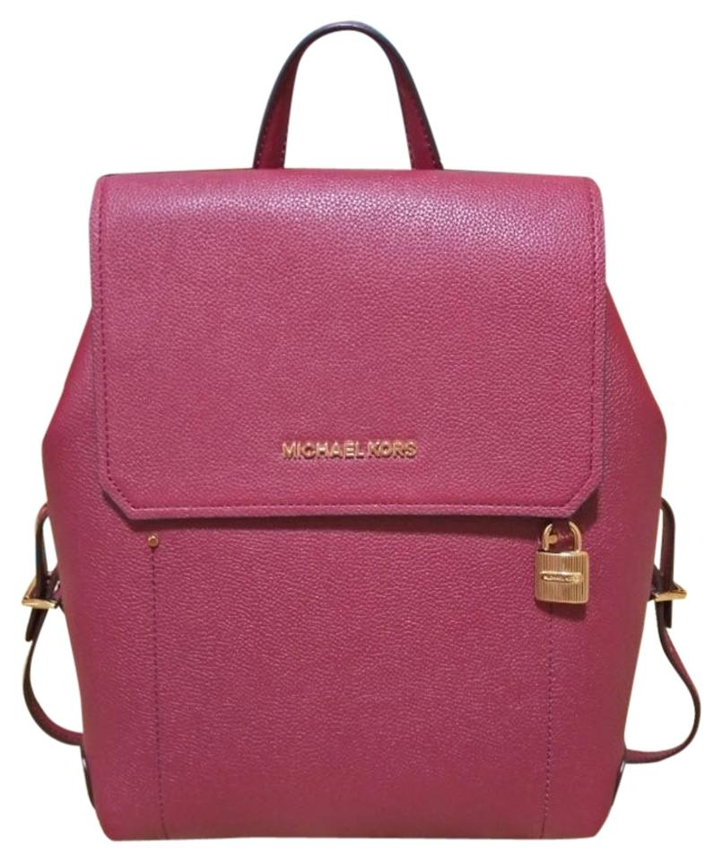 9e5a56fd987f3d Michael Kors Hayes Medium Size Red Leather Backpack - Tradesy