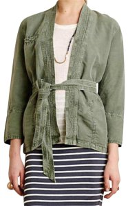 Anthropologie Breathable Comfy Open Front Tie Waist Front Green Jacket
