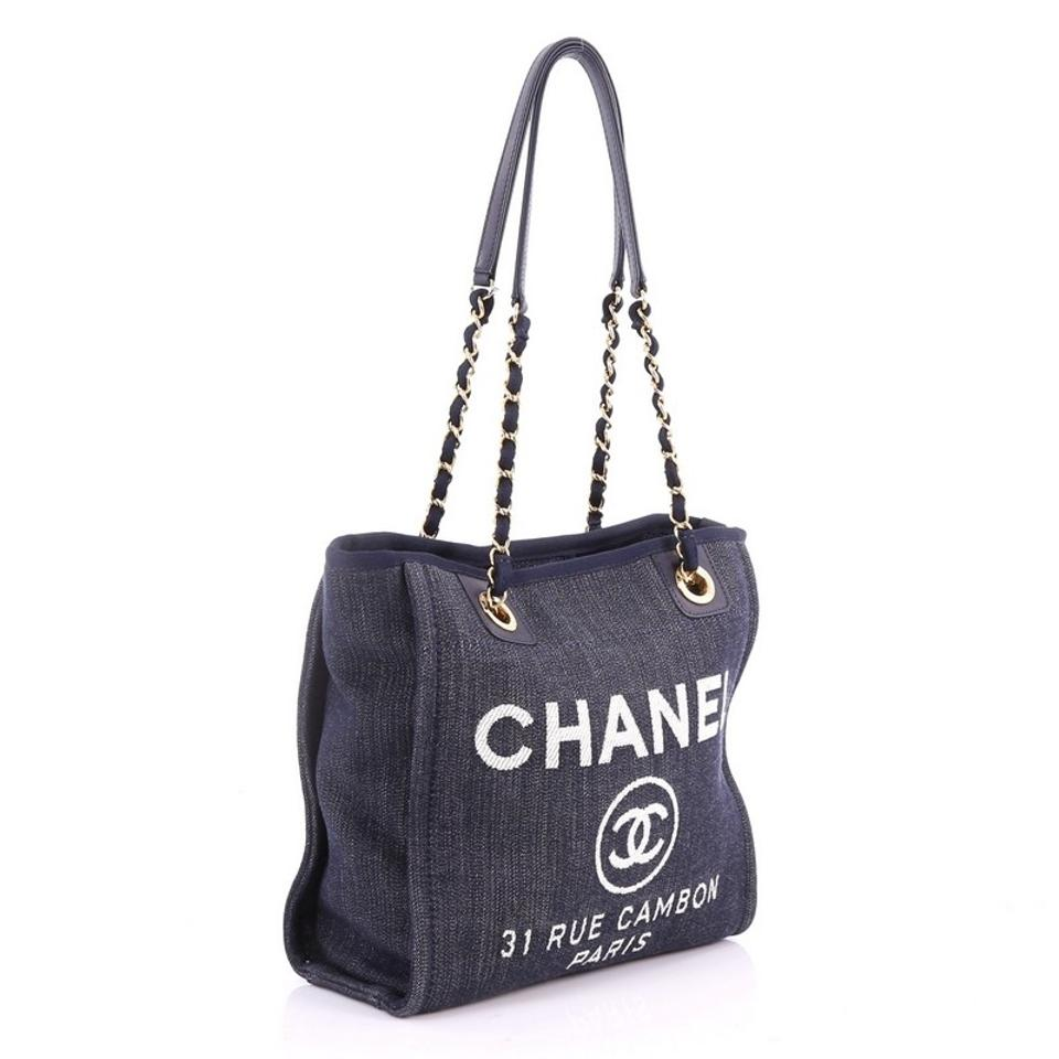 Chanel Deauville North South Chain Small Blue Denim Tote - Tradesy bad140f872a33
