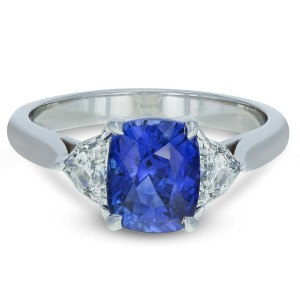 Gavriel's Jewelry Sri Lanka Blue Sapphire And Diamond Engagement Ring 3.34cttw 18K White