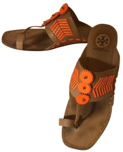 c31d0191868 Tory Burch Vegetable Leather Natural Leather Neon Orange Sandals